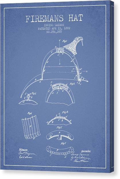 Firefighters Canvas Print - 1882 Firemans Hat Patent - Light Blue by Aged Pixel