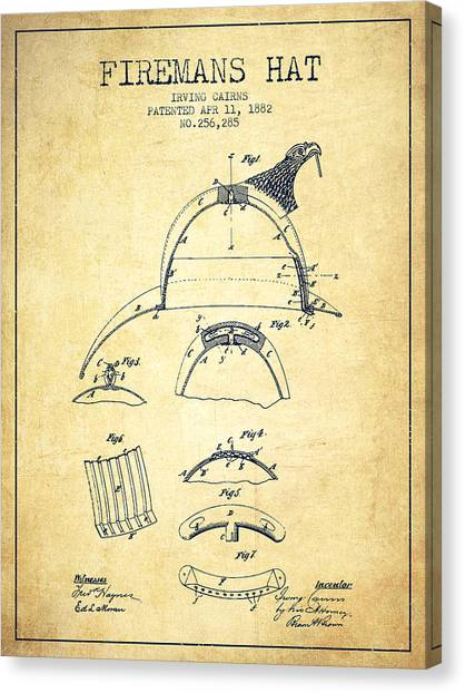 Firefighters Canvas Print - 1882 Firemans Hat Patent - Vintage by Aged Pixel