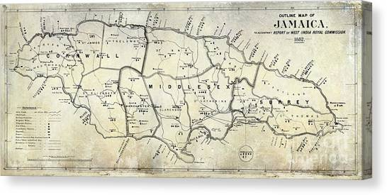 Jamaican Canvas Print - 1882 Jamaica Map by Jon Neidert