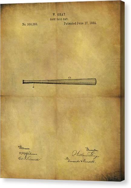 Lou Gehrig Canvas Print - 1884 Baseball Bat Illustration by Dan Sproul