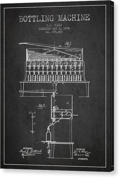 Champagne Canvas Print - 1884 Bottling Machine Patent - Charcoal by Aged Pixel