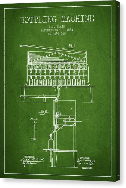 Brewery Canvas Print - 1884 Bottling Machine Patent - Green by Aged Pixel