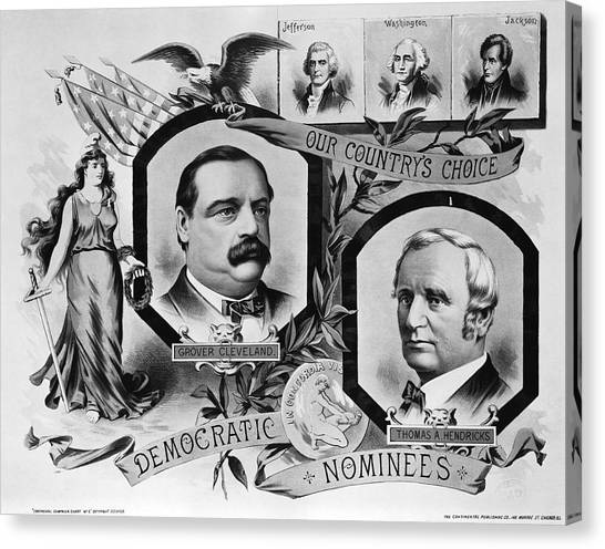 Democratic Politicians Canvas Print - 1884 Campaign Banner by Underwood Archives