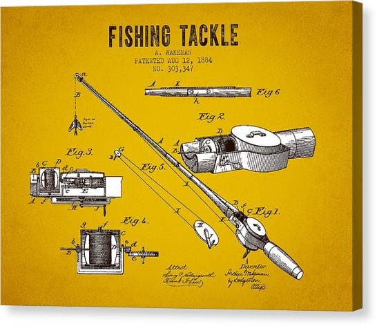 Bass Fishing Canvas Print - 1884 Fishing Tackle Patent - Yellow Brown by Aged Pixel