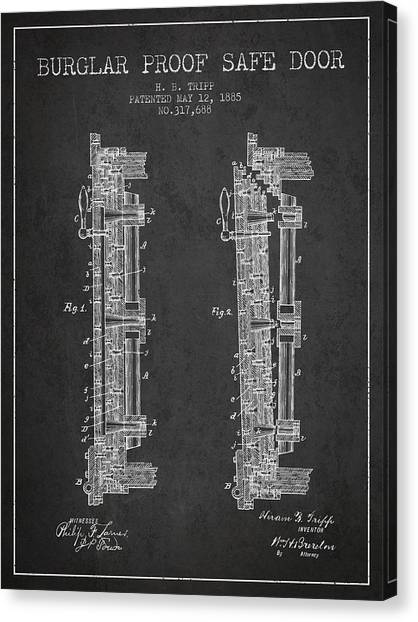 Vault Canvas Print - 1885 Bank Safe Door Patent - Charcoal by Aged Pixel