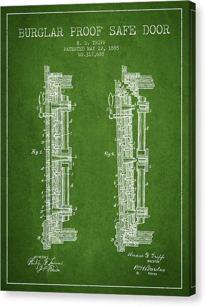 Vault Canvas Print - 1885 Bank Safe Door Patent - Green by Aged Pixel