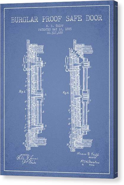 Vault Canvas Print - 1885 Bank Safe Door Patent - Light Blue by Aged Pixel
