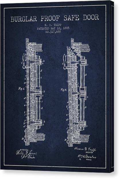 Vault Canvas Print - 1885 Bank Safe Door Patent - Navy Blue by Aged Pixel