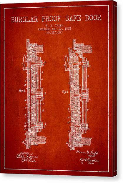 Vault Canvas Print - 1885 Bank Safe Door Patent - Red by Aged Pixel