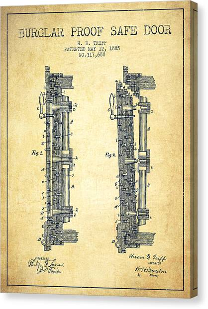 Vault Canvas Print - 1885 Bank Safe Door Patent - Vintage by Aged Pixel