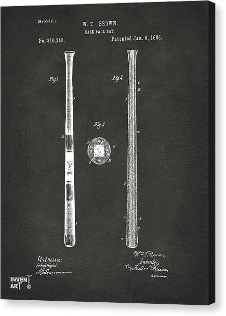 Media Canvas Print - 1885 Baseball Bat Patent Artwork - Gray by Nikki Marie Smith