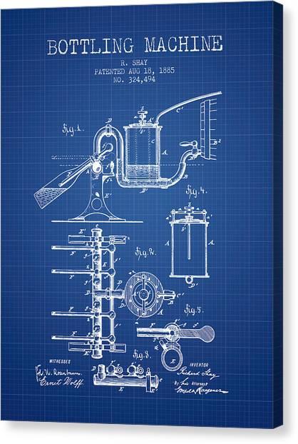 Cider Canvas Print - 1885 Bottling Machine Patent - Blueprint by Aged Pixel