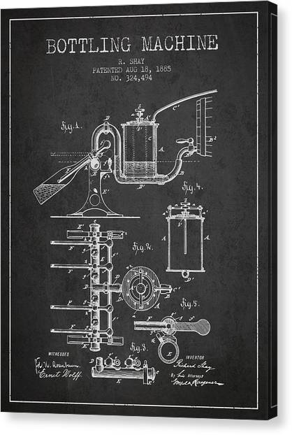 Cider Canvas Print - 1885 Bottling Machine Patent - Charcoal by Aged Pixel