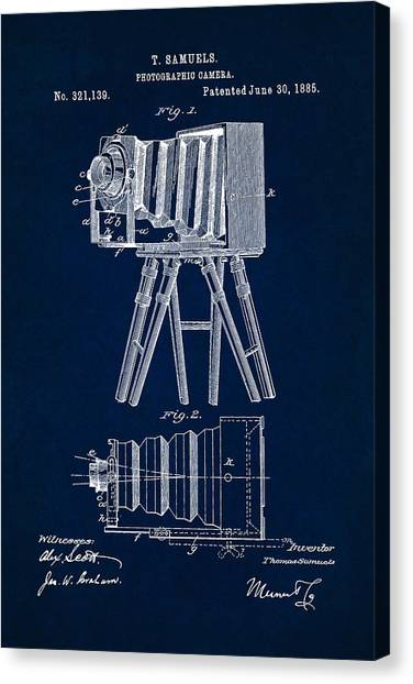 1885 Camera Us Patent Invention Drawing - Dark Blue Canvas Print