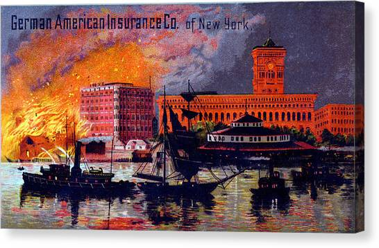 Nyfd Canvas Print - 1885 German American Insurance Of New York by Historic Image