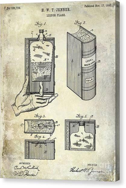 Tequila Canvas Print - 1885 Liquor Flask Patent by Jon Neidert