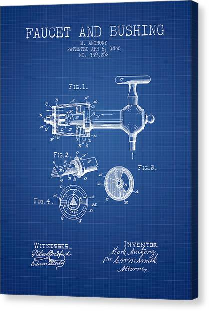 Brewery Canvas Print - 1886 Faucet And Bushing Patent - Blueprint by Aged Pixel