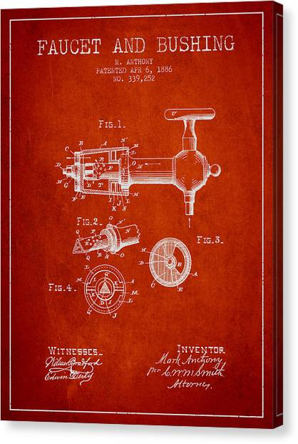 Brewery Canvas Print - 1886 Faucet And Bushing Patent - Red by Aged Pixel