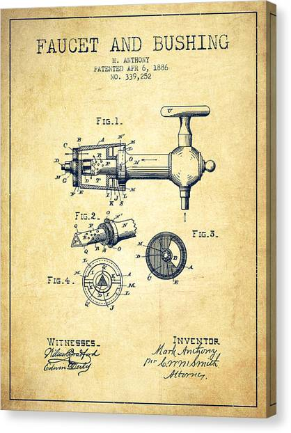 Brewery Canvas Print - 1886 Faucet And Bushing Patent - Vintage by Aged Pixel
