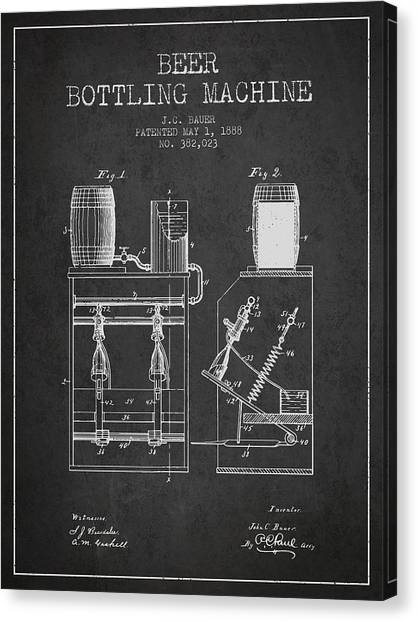 Brewery Canvas Print - 1888 Beer Bottling Machine Patent - Charcoal by Aged Pixel