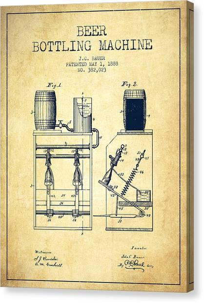 Cider Canvas Print - 1888 Beer Bottling Machine Patent - Vintage by Aged Pixel