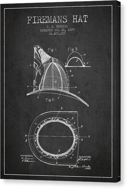Firefighters Canvas Print - 1889 Firemans Hat Patent - Charcoal by Aged Pixel