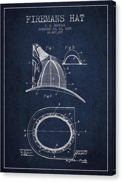 Firefighters Canvas Print - 1889 Firemans Hat Patent - Navy Blue by Aged Pixel