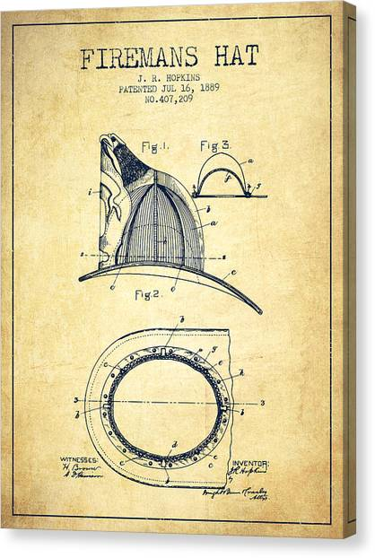 Firefighters Canvas Print - 1889 Firemans Hat Patent - Vintage by Aged Pixel