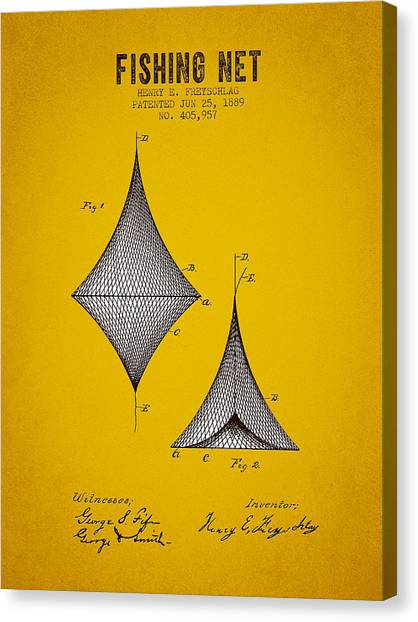 Bass Fishing Canvas Print - 1889 Fishing Net Patent - Yellow Brown by Aged Pixel