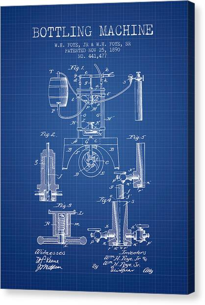 Brewery Canvas Print - 1890 Bottling Machine Patent - Blueprint by Aged Pixel