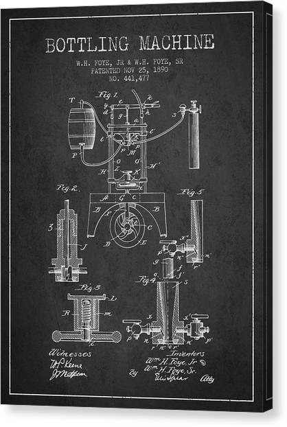 Brewery Canvas Print - 1890 Bottling Machine Patent - Charcoal by Aged Pixel