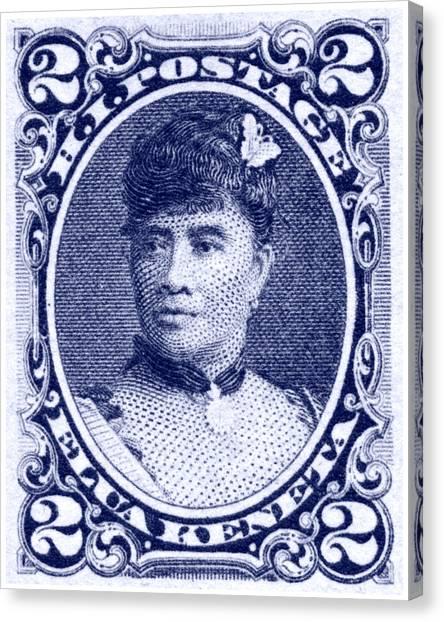 1890 Hawaiian Queen Liliuokalani Stamp Canvas Print