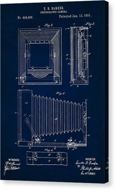 1891 Camera Us Patent Invention Drawing - Dark Blue Canvas Print