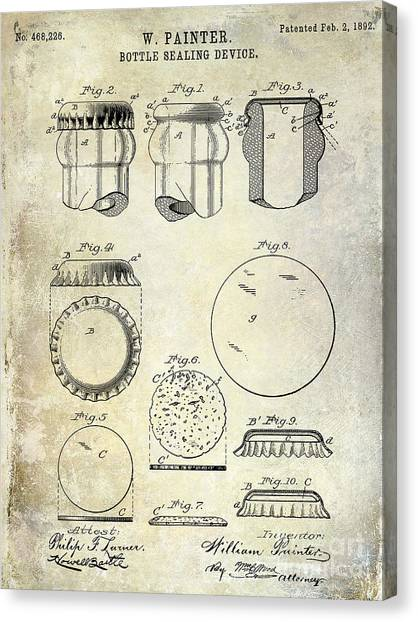 Pepsi Canvas Print - 1892 Bottle Cap Patent  by Jon Neidert