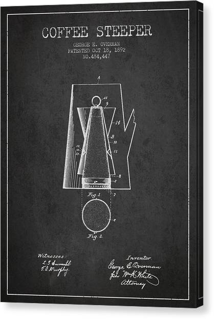 Cup Of Coffee Canvas Print - 1892 Coffee Steeper Patent - Charcoal by Aged Pixel