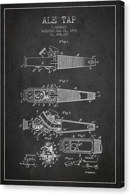 Brewery Canvas Print - 1893 Ale Tap Patent - Charcoal by Aged Pixel