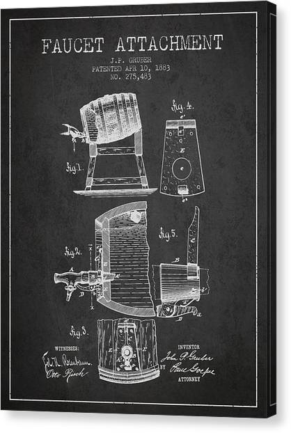 Brewery Canvas Print - 1893 Faucet Attachment Patent - Charcoal by Aged Pixel