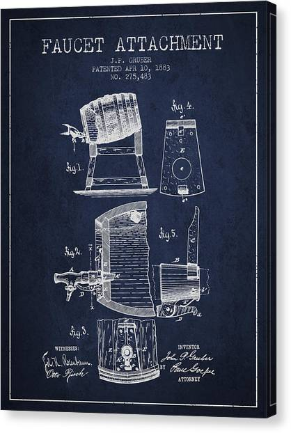 Brewery Canvas Print - 1893 Faucet Attachment Patent - Navy Blue by Aged Pixel