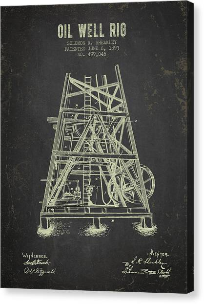 Oil Rigs Canvas Print - 1893 Oil Well Rig Patent - Dark Grunge by Aged Pixel