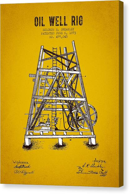 Oil Rigs Canvas Print - 1893 Oil Well Rig Patent - Yellow Brown by Aged Pixel