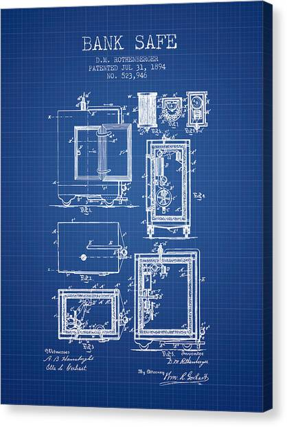 Vault Canvas Print - 1894 Bank Safe Patent - Blueprint by Aged Pixel