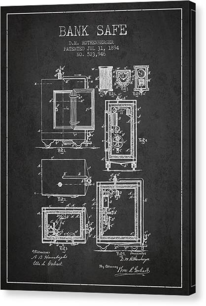 Vault Canvas Print - 1894 Bank Safe Patent - Charcoal by Aged Pixel