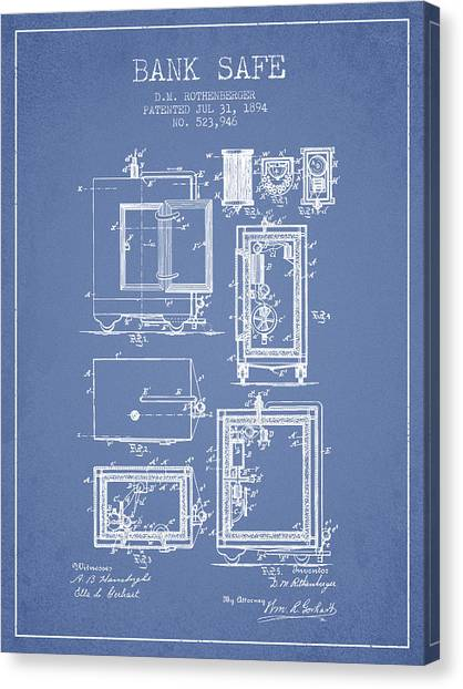 Vault Canvas Print - 1894 Bank Safe Patent -light Blue by Aged Pixel