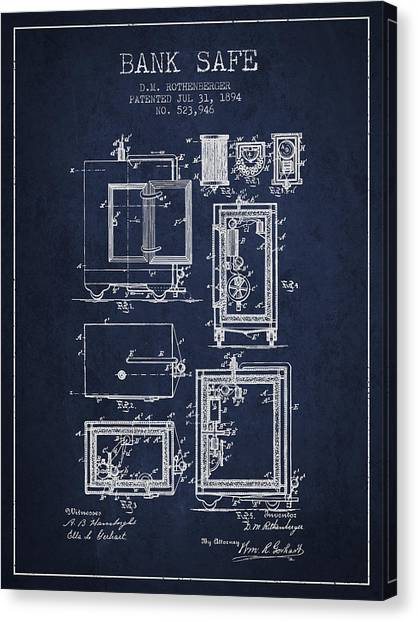 Vault Canvas Print - 1894 Bank Safe Patent - Navy Blue by Aged Pixel
