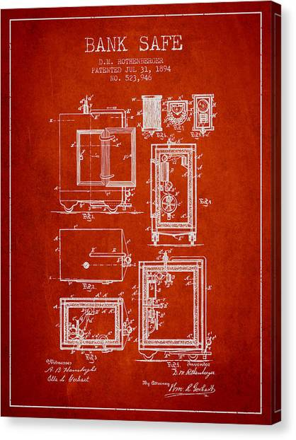 Vault Canvas Print - 1894 Bank Safe Patent - Red by Aged Pixel