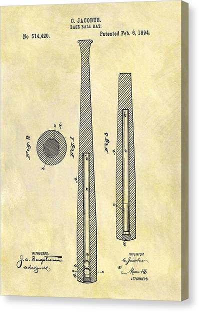 Lou Gehrig Canvas Print - 1894 Baseball Bat Patent by Dan Sproul