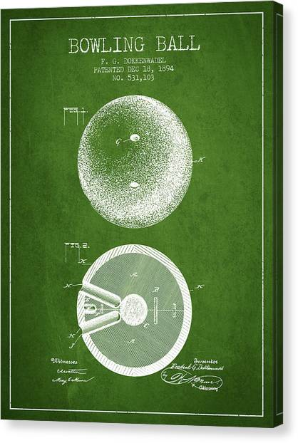 Bowling Alley Canvas Print - 1894 Bowling Ball Patent - Green by Aged Pixel