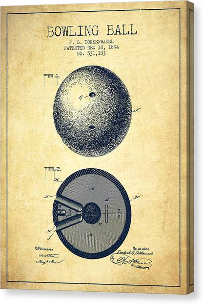 Bowling Ball Canvas Print - 1894 Bowling Ball Patent - Vintage by Aged Pixel