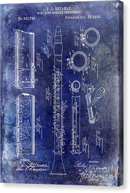 Clarinets Canvas Print - 1894 Clarinet Patent Blue by Jon Neidert