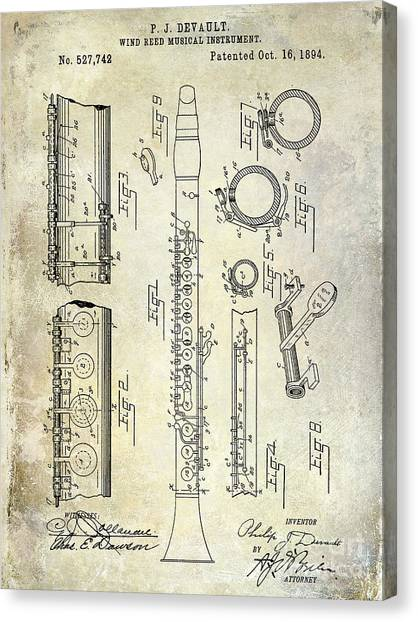 Clarinets Canvas Print - 1894 Clarinet Patent by Jon Neidert